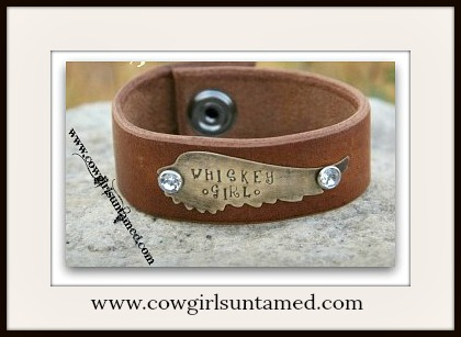 "COWGIRL GYPSY CUFF ""WHISKEY GIRL"" Crystal Antique Bronze Angel Wing Brown Leather Western Cuff"