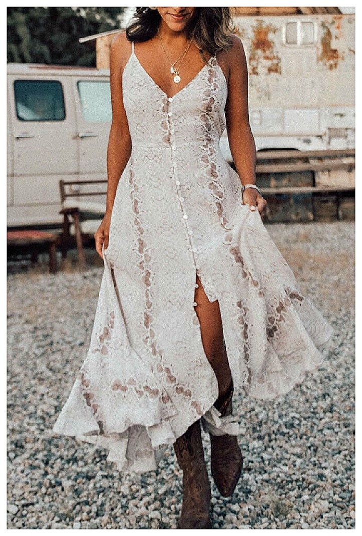 INTO THE WILD DRESS White Sleeveless Snake Print Button Front V neck Midi Boho Dress S-XL