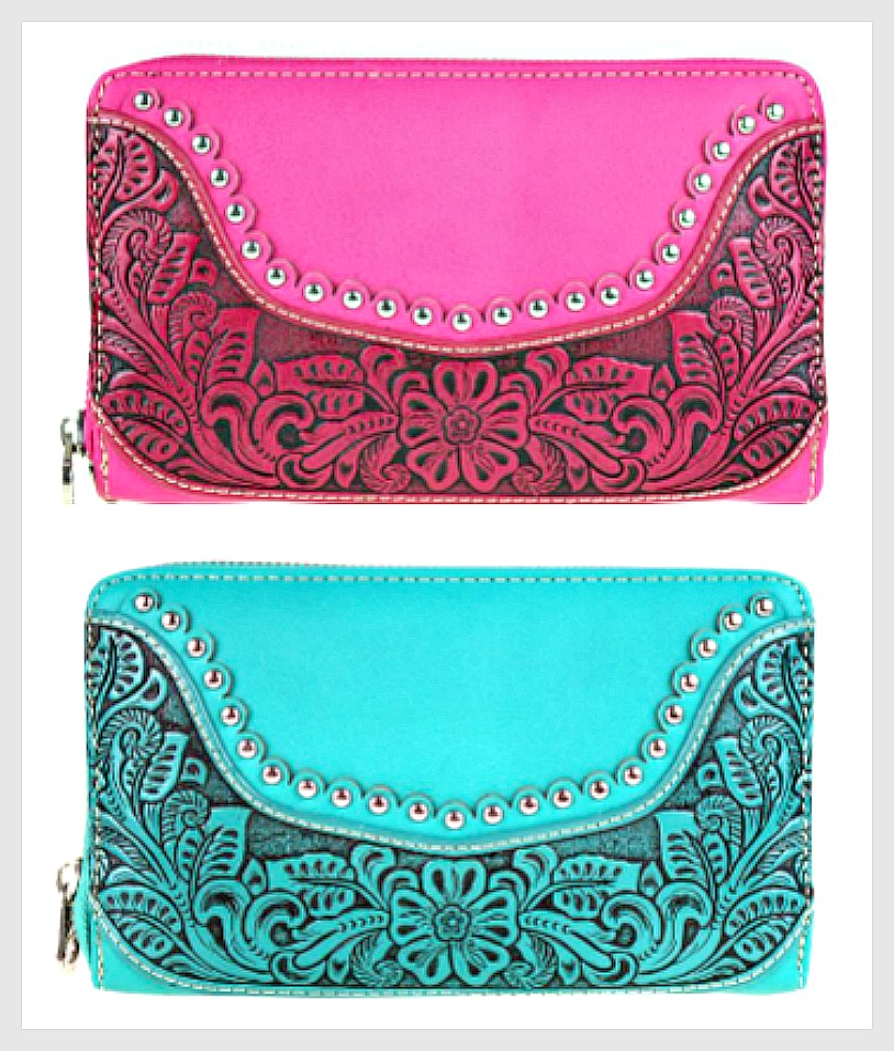 THE SARAH WALLET Silver & Rhinestone Studded Floral Tooled Leather Wallet  2 COLORS!